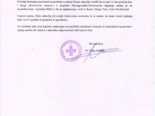 Dom zdravlja Rama: Odgovor na priopćenja HDZ-a BiH Rama i HSP BiH Rama