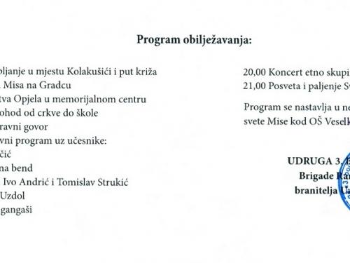 NAJAVA: Prvi susret iseljenih Uzdoljana i Dan 3. bojne brigade Rama i branitelja Uzdola