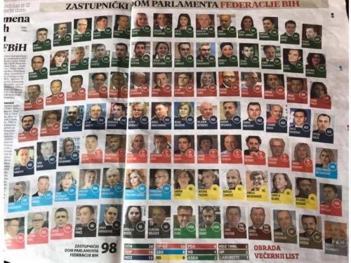 Ovih će 98 zastupnika sjediti u Zastupničkom domu Parlamenta FBiH