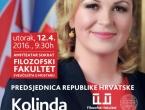 Predsjednica RH Kolinda Grabar Kitarović sutra na Filozofskom fakultetu