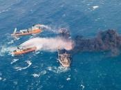 Zapaljeni iranski tanker potonuo