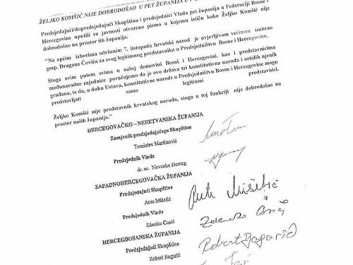 Komšić službeno nije dobrodošao u pet županija!
