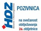 Poziv na obilježavanje 26. obljetnice osnivanja HDZ-a BiH u Rami