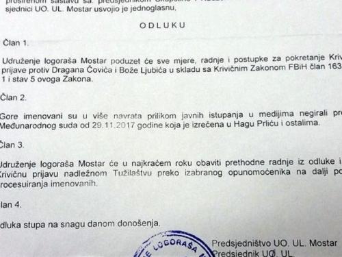 Udruženje logoraša Mostar pokrenut će kaznene prijave protiv Čovića i Ljubića