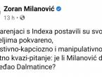 Milanović opleo po Indexu