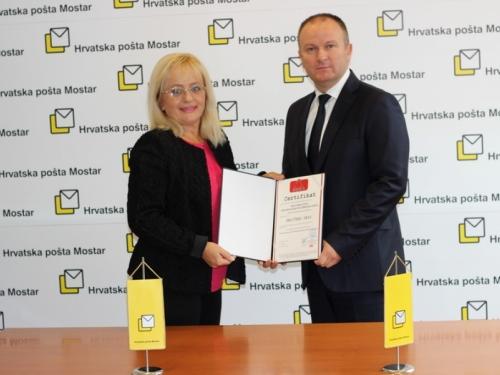 Hrvatskoj pošti Mostar dodijeljen Certifikat ISO/IEC 27001:2013
