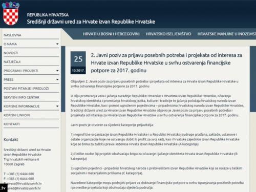 Državni ured za Hrvate izvan RH raspisao 2. Javni poziv za prijavu potreba i projekata