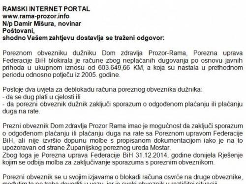 Porezna uprava FBiH o blokadi računa Doma zdravlja Prozor Rama